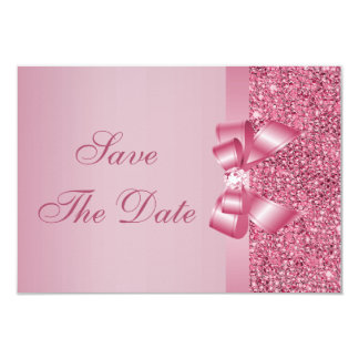 Pink Printed Sequins Bow & Diamond Save the Date Card