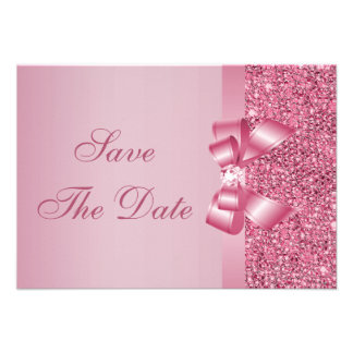 Pink Printed Sequins Bow Diamond Save the Date Announcement