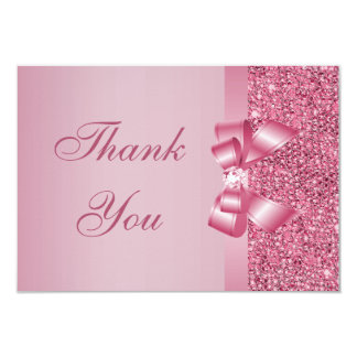 Pink Printed Sequins Bow & Diamond Thank You 3.5x5 Paper Invitation Card