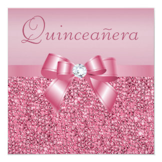 Pink Printed Sequins & Bow Quinceanera Card