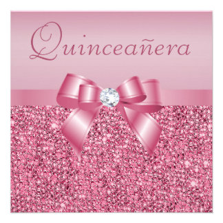 Pink Printed Sequins Bow Quinceanera Announcement