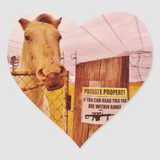 Pink Private Property Horse Heart Sticker