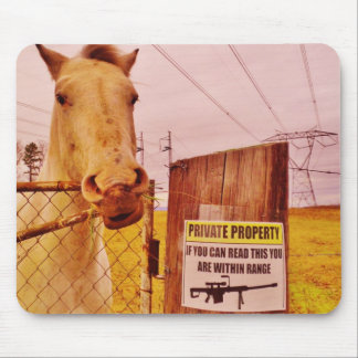 Pink Private Property Horse Mousepads