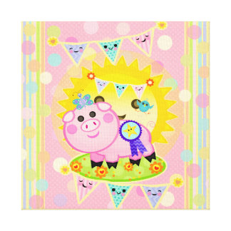 Pink Prize Pig Pennant Children's Wrapped Canvas Canvas Print