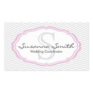 Pink professional card of monograma and chevrón business card templates