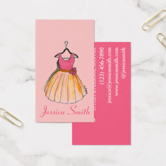 Pink Prom Party Dress Stylist Fashion Boutique Business Card