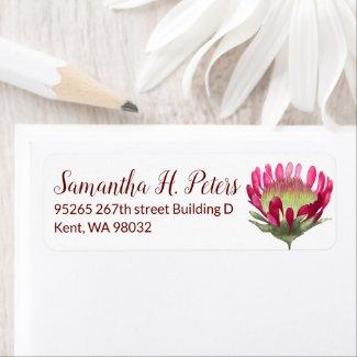 Pink Protea Flower Return Address Label Sheet