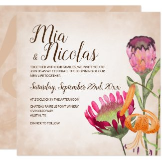 Pink Protea Flowers and Tiger Lily Wedding Invitation