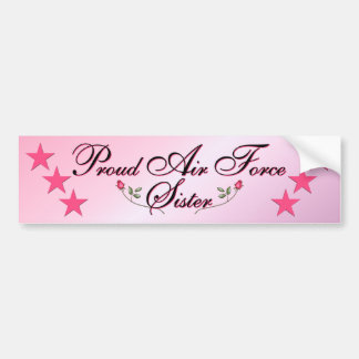 Pink & Proud Air Force Sister Bumper Sticker Car Bumper Sticker