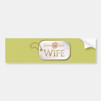 Pink Proud Army Wife Car Bumper Sticker