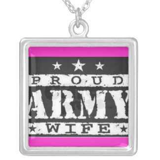 pink proud army wife necklace