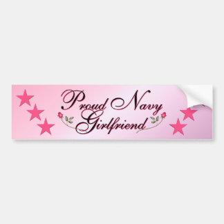 Pink Proud Navy Girlfriend Bumper Sticker
