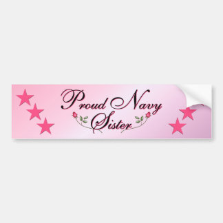 Pink & Proud Navy Sister Bumper Sticker