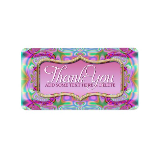 Pink Psychedelic Thank You Sticker Labels