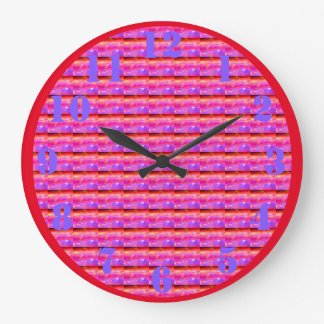 Pink Psychedelic Window Blinds Large Clock