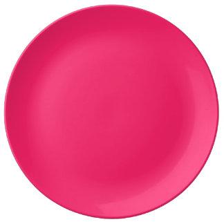 Pink Pucker-Hot Shocking Pink-Uptown Girl-Designer Dinner Plate