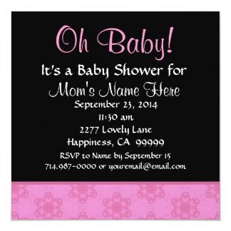 Pink Pudgy Flowers Little Girl Baby Shower Card