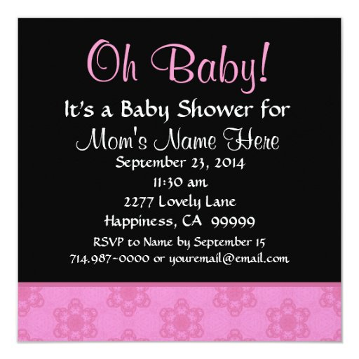 Pink Pudgy Flowers Little Girl Baby Shower 5.25x5.25 Square Paper Invitation Card