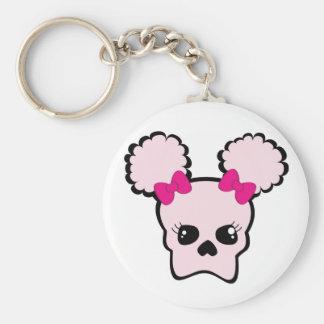 pink puff bone basic round button keychain