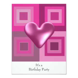 Pink Puffy Heart Birthday Invitation