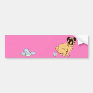 Pink Pug Pooping Cupcakes Bumper Sticker