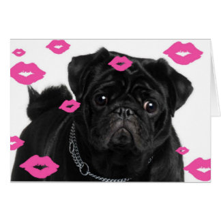 Pink Pugs and Kisses Card