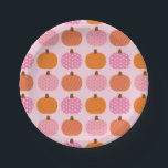 """Pink Pumpkin 1st Birthday Paper Plate<br><div class=""""desc"""">This sweet design features cute pink and orange pumpkins with polka dot and stripe patterns.</div>"""