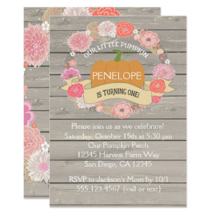 Pumpkin birthday invitations announcements zazzle pink pumpkin 1st birthday party invitation filmwisefo