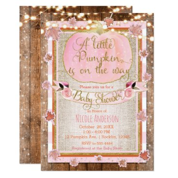 Halloween Themed Pink Pumpkin & Autumn Leaves Rustic Baby Shower Card
