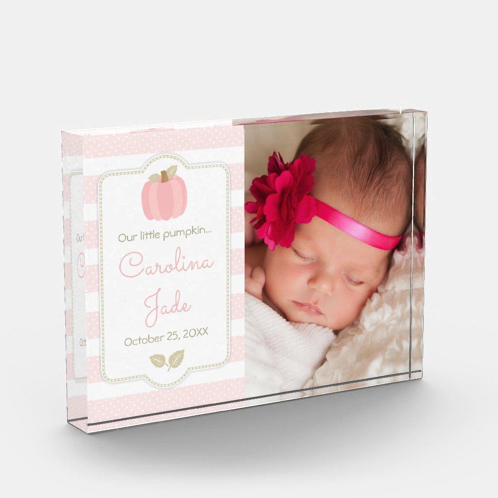 Pink Pumpkin Baby Girl Birth Announcement Photo Block
