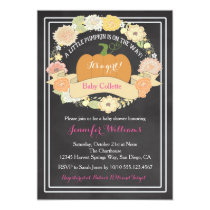 PInk Pumpkin Baby Girl Shower Invitation