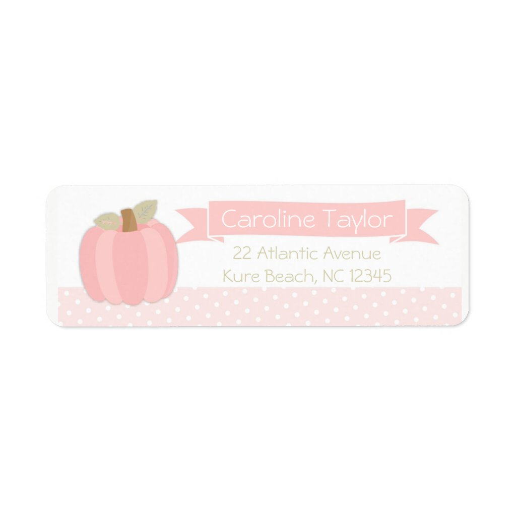 Pink Pumpkin Baby Shower Address Label