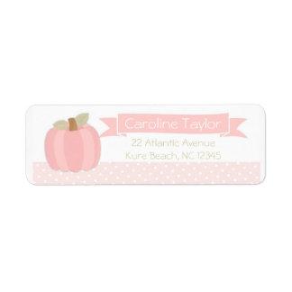 Pink Pumpkin Baby Shower Address Label