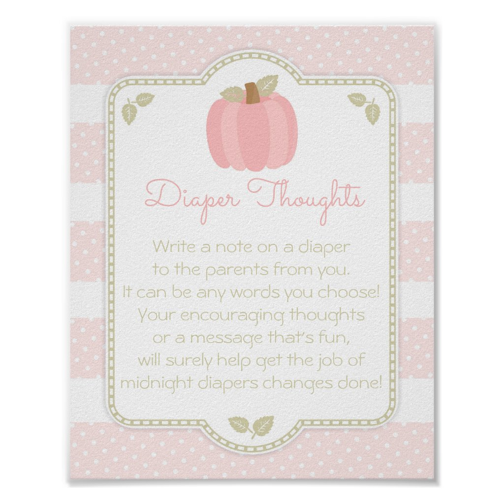 Pink Pumpkin Baby Shower Diaper Thoughts Sign