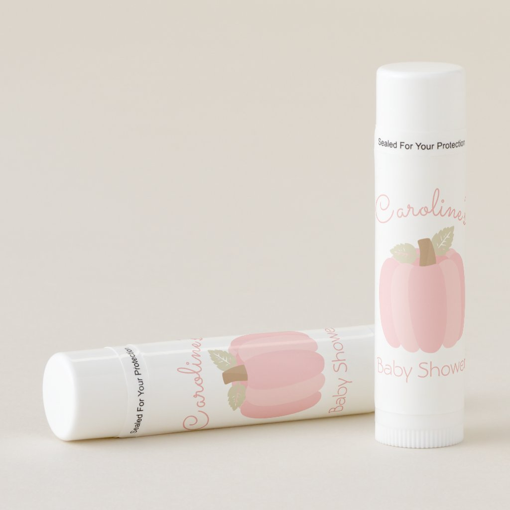 Pink Pumpkin Baby Shower Lip Balm