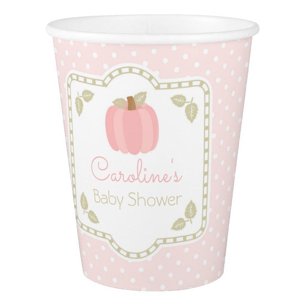 Pink Pumpkin Baby Shower Paper Cups