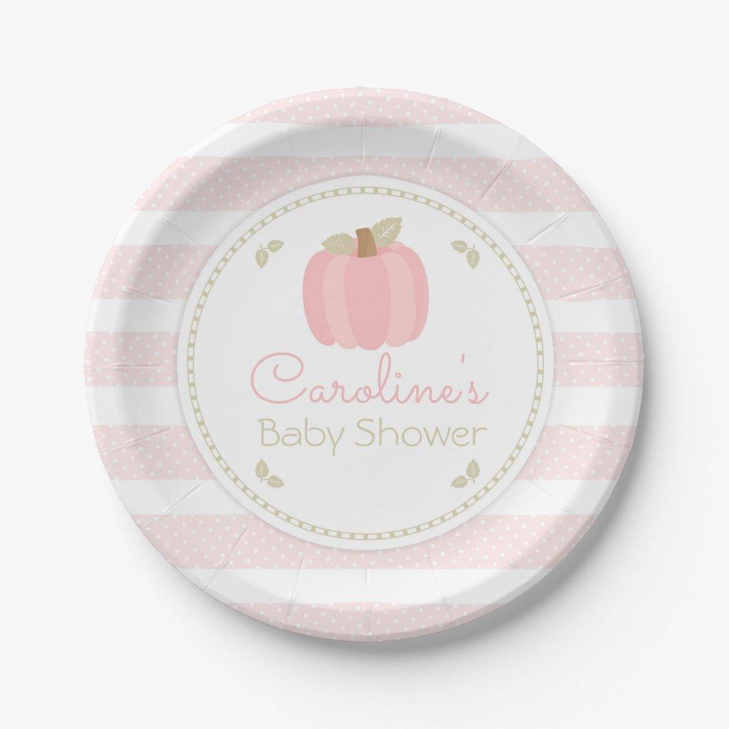 Pink Pumpkin Baby Shower Paper Plate