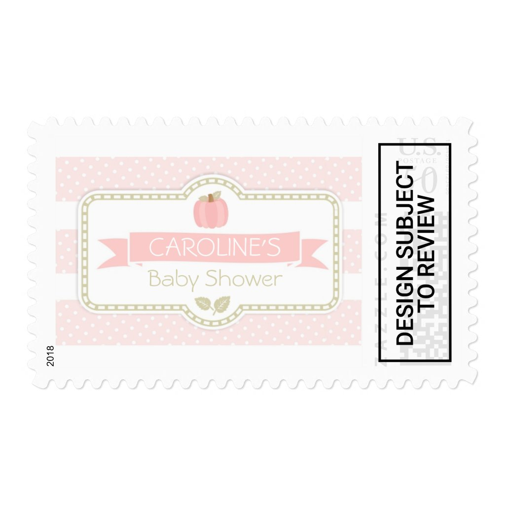 Pink Pumpkin Baby Shower Postage Stamp