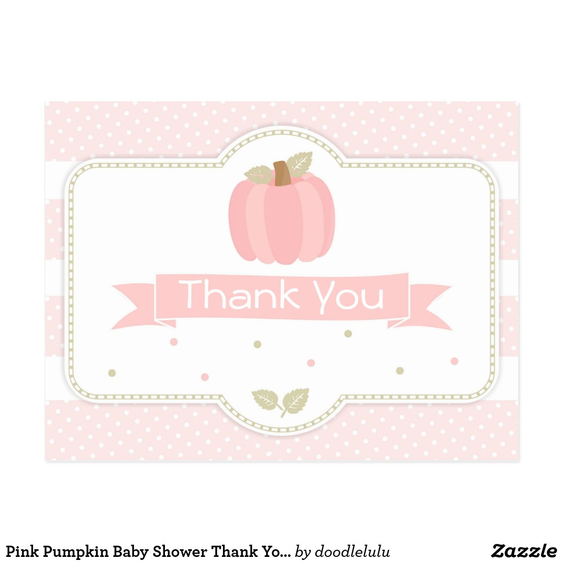 Pink Pumpkin Baby Shower Thank You Postcard