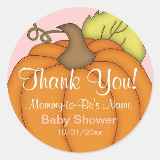Pink Pumpkin Baby Shower Thank You Stickers