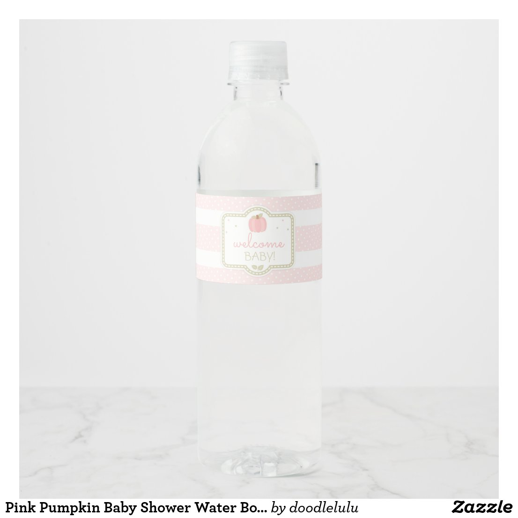 Pink Pumpkin Baby Shower Water Bottle Label