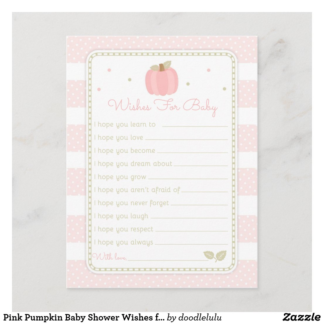 Pink Pumpkin Baby Shower Wishes for Baby Advice Card