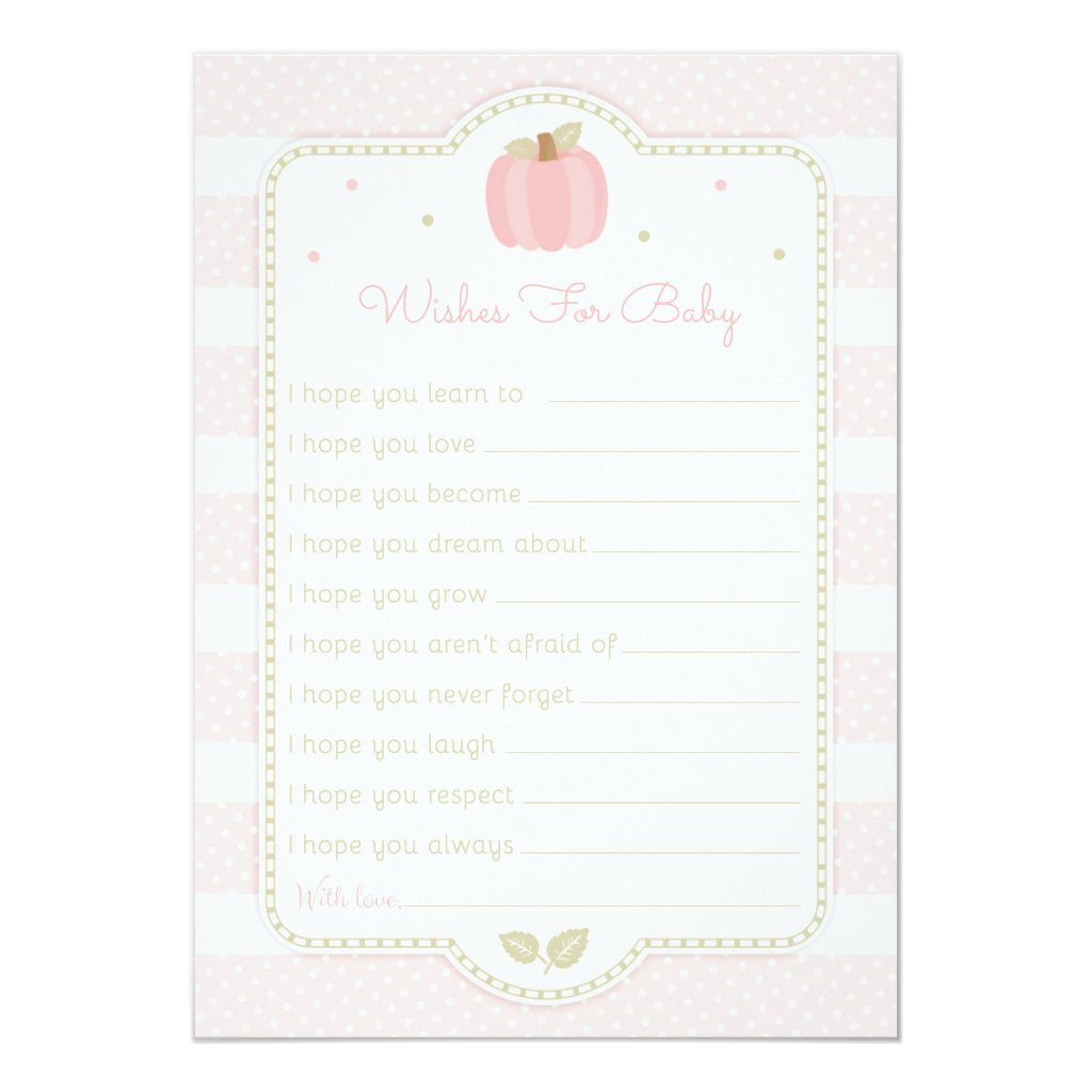 Pink Pumpkin Baby Shower Wishes for Baby Invitation