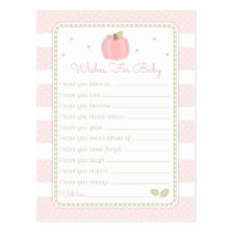 Pink Pumpkin Baby Shower Wishes for Baby Postcard