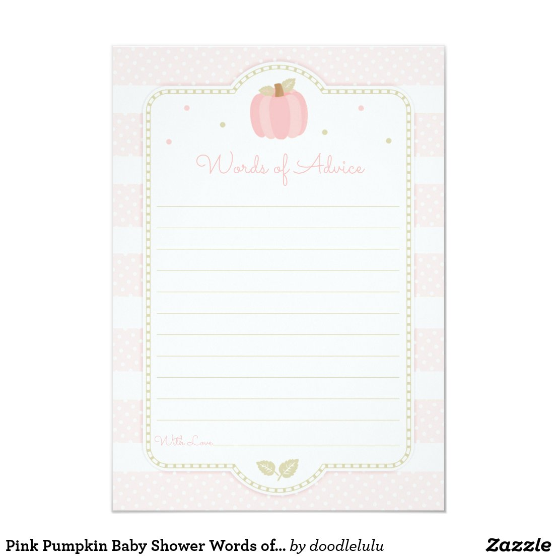 Pink Pumpkin Baby Shower Words of Advice Invitation