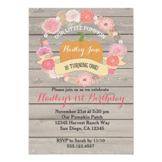 Pink Pumpkin Birthday Party Invitation