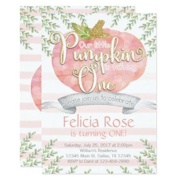 Halloween Themed Pink Pumpkin Birthday Party Invitation Invite