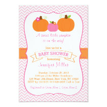 Pink Pumpkin Chevron Baby Shower Invitations