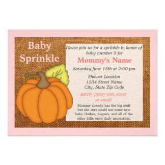 Pink Pumpkin Fall Baby Sprinkle Invitation