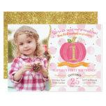 Pink Pumpkin Fall First 1st Birthday Invitation